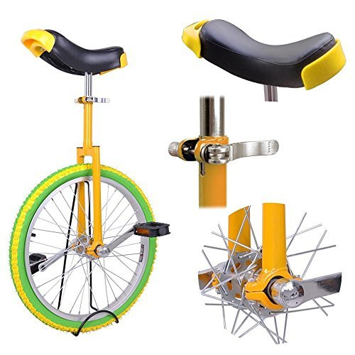 20'' Inches Wheel Skid Proof Tread Pattern Unicycle W/ Stand Uni-Cycle Bike Cycling YELLOW GREEN by Jamden (Image #2)