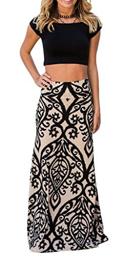 JomeDesign Women's High Waist A-Line Coral Print Long Skirts Pleated Maxi Skirt