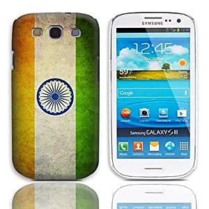 GJYVintage The Flag of India Pattern Hard Case with 3-Pack Screen Protectors for Samsung Galaxy S3 I9300