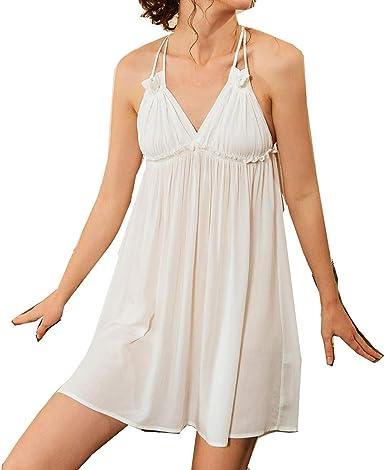 Pijamas Mujer Camisón Loungewear Sin Mangas Crepe De Algodón ...