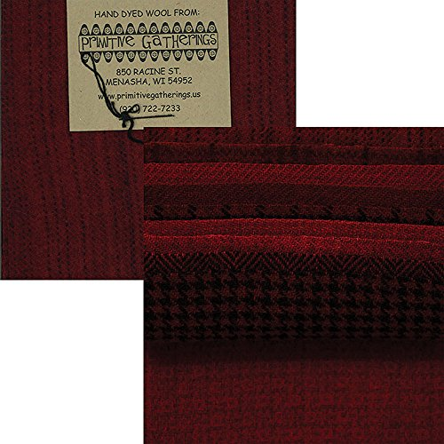 Primitive Gatherings Hand Dyed Wool Christmas Charm Pack 10 5-inch Squares PRI 6006