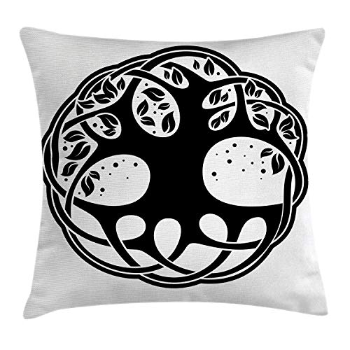 Ambesonne Celtic Throw Pillow Cushion Cover, Celtic Tree of Life Historic Scottish Spiritual Nature Branches Root Knots Picture, Decorative Square Accent Pillow Case, 16 X 16 Inches, Black White