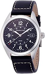 Hamilton Khaki Field Black Dial SS Leather Quartz Male Watch H68551733