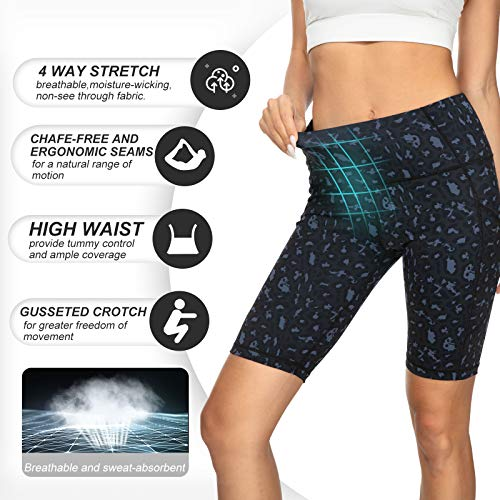 Running Shorts for Women High Waist Pants Yoga Leggings Biker Workout Shorts with 3 Pockets Regular Plus Size (Black Ash Spots M)