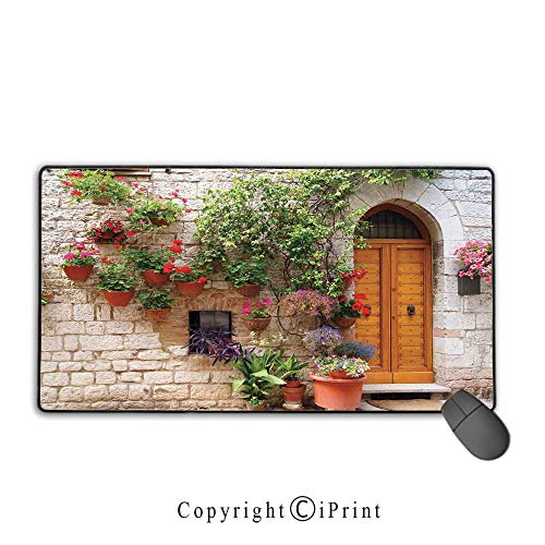 Gaming Mouse pad,Tuscan,Begonia Blossoms in Box Window Wooden Shutters Brick Wall Romagna Italy,Orange White Green,Suitable for laptops, Computers, PCs, Keyboards, Mouse pad with Lock,9.8