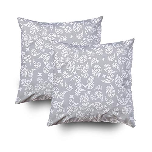 Musesh Pack of 2 grey white paisley decor Cushions Case Throw Pillow Cover Sofa Home Decorative Pillowslip Gift Ideas Household Pillowcase Zippered Pillow Covers 18X18Inch