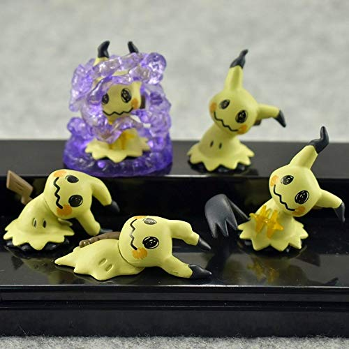 PAPRING Set 5 Mimikyu Figure 1.3 - 1.5 inch Anime Cartoon Movie Small PVC Action Figures Mini Model Toys Christmas Halloween Birthday Gifts Cute Doll Animal Collectible for Kids Adults ()