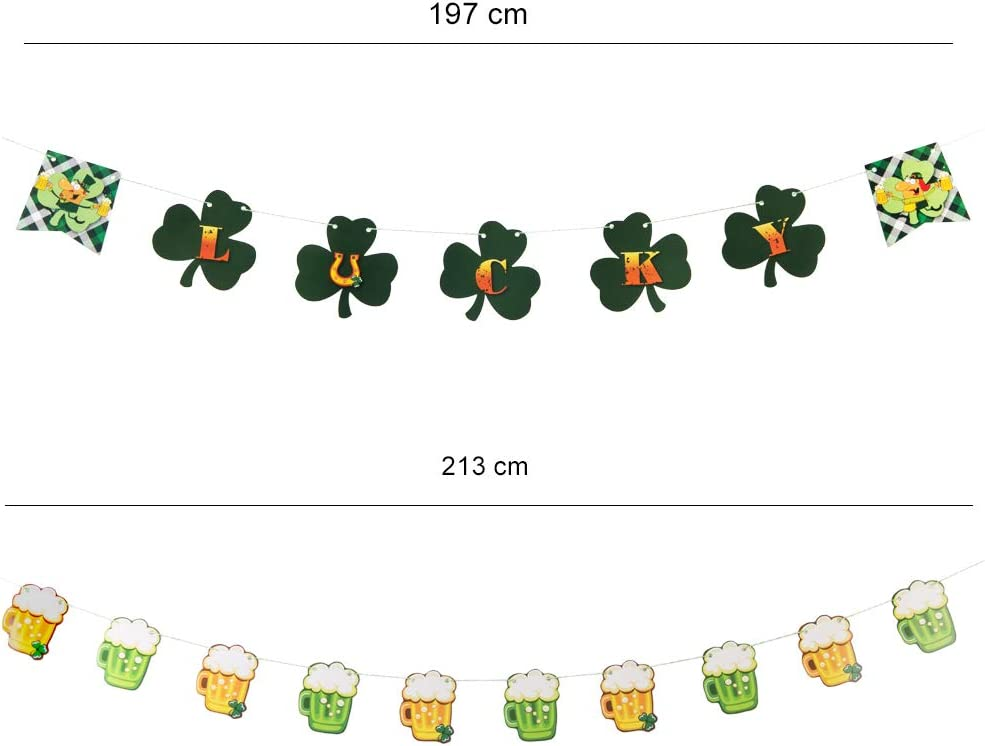 Banner SUNBEAUTY St Patrick Day Decoration Clover Shamrock Beer Banners Bunting Hanging Garland Irish Green Party Decor