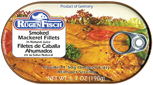 Peppered Mackerel - RügenFisch Smoked Mackerel in Natural Juices, 6.7 Ounce