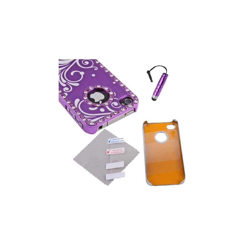 Purple iPhone 4 4S 4G Aluminum Metal Chrome Hard Case Cover+ Screen Protector + Pen Cell Phones & Accessories