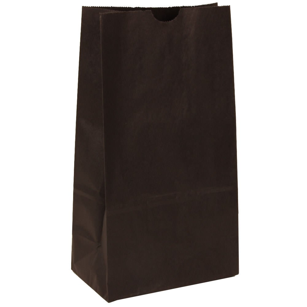 JAM Paper Lunch Bags - Medium - 5'' x 9 3/4'' x 3'' - Black Kraft - 500/Box by JAM Paper