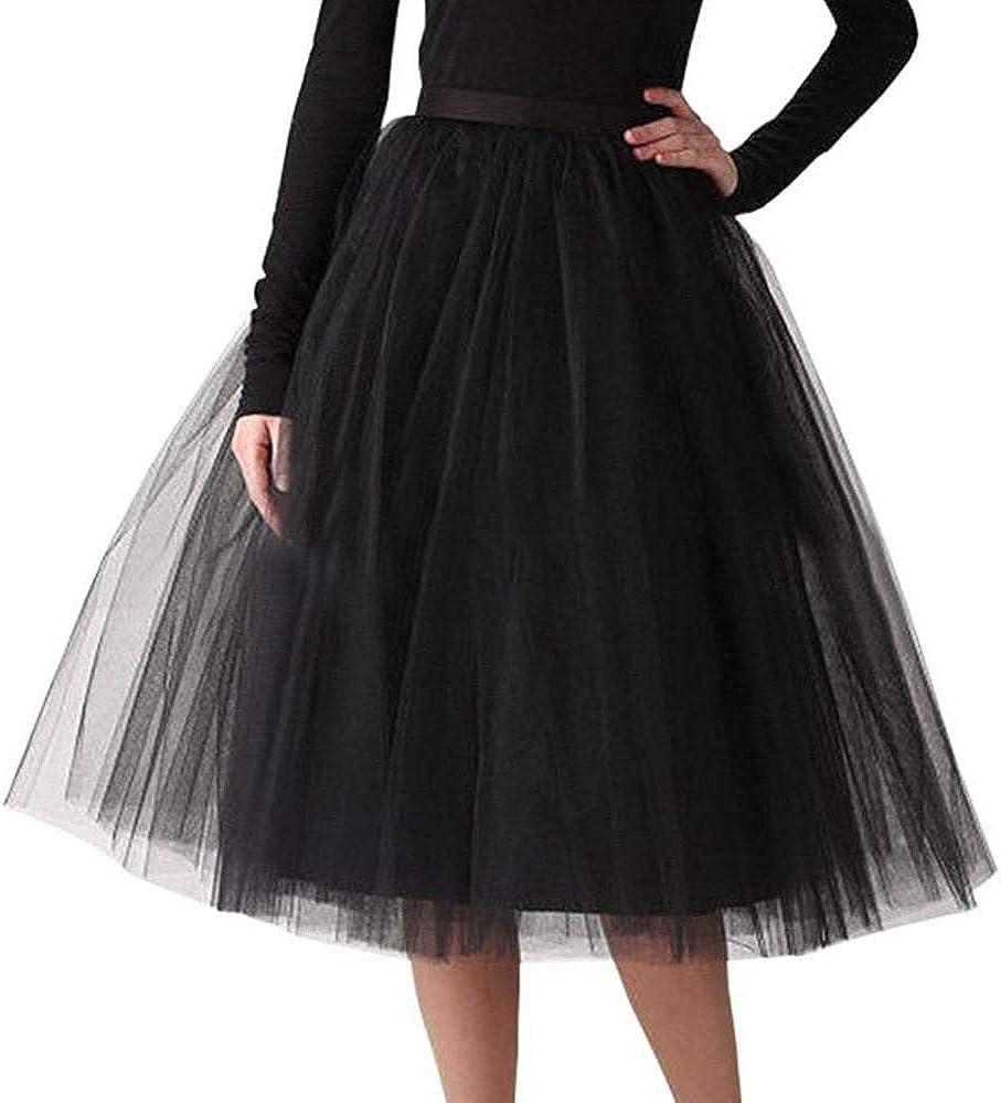 VJGOAL Moda Casual de Las Mujeres Color sólido Gasa Plisada hasta la Rodilla Falda de Tul Elástico de la Cintura Tutu Princesa Falda