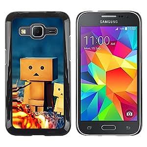 QCASE / Samsung Galaxy Core Prime SM-G360 / Amistad estatuilla 3d juego acampar arte / Delgado Negro Plástico caso cubierta Shell Armor Funda Case Cover