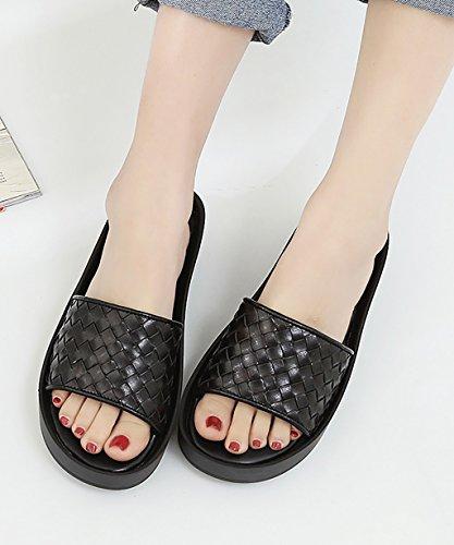 CHAOXIANG Chanclas Para Mujer Antideslizante Zapatillas De Tacón Alto Sandalias De Surf Nuevo Zapatos De Playa Del Verano ( Color : Negro , Tamaño : EU41/UK8/CN42 ) Negro