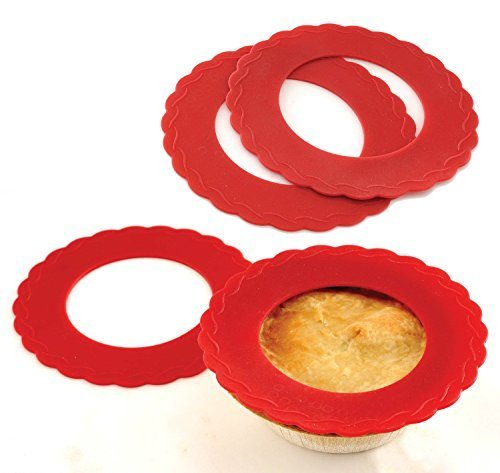 4 Set Mini Silicone Pie Pan Shields Red 5 inch - 6 inch Pies Protects Crust
