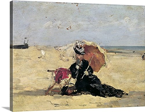 Victorian Costume 1880 (Eugene Louis Boudin Premium Thick-Wrap Canvas Wall Art Print entitled Woman with a Parasol on the Beach, 1880)