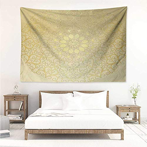 alisos Mandala,Wall Decor Tapestry Round Antique Motif Curvy Stylized Ornate Heart Shape Arabesque Influences 91W x 60L Inch Tapestry Wallpaper Home Decor Yellow Pale Yellow