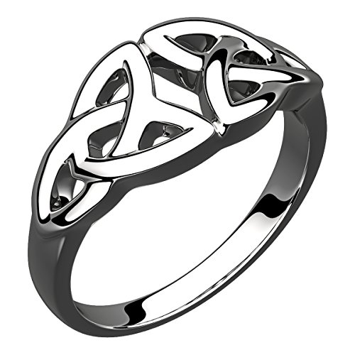Double Trinity Knot - UPCO Sterling Silver Double Trinity Knot Celtic Ring, Ideal Present as 10
