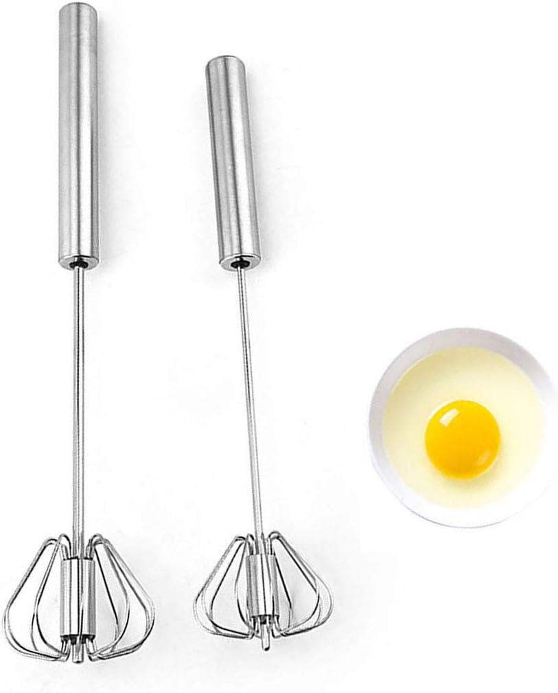 Stainless Egg Whisks, Hand Push Egg Rotary Whisk, Egg Beater Mixer, Semi-Automatic Rotating Whisk Hand Mixer Blender