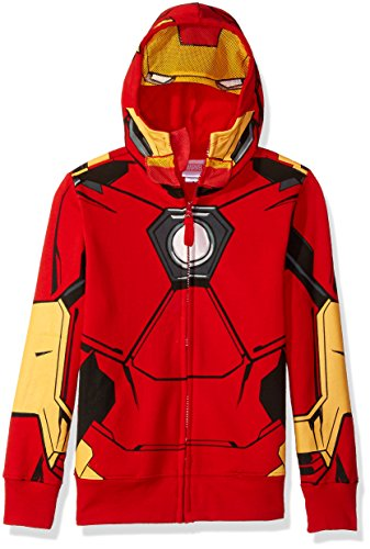 Marvel Boys' Little Iron Man Costume Zip-up Hoodie, red, 7 -