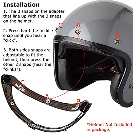 PQZATX 3-Snap Bubble Shield Visor Street Motorcycle Helmet Accessories with Removable Flip Universal Brown