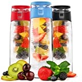clear water bottle with filter - Vremi 24 oz Fruit Infused Water Bottle - BPA Free Sports Water Bottle with Fruit Infuser Filter and Flip Top Lid Cap - Large Tritan Plastic Eco Drinking Cool Clear Travel Reusable Water Bottles - Blue