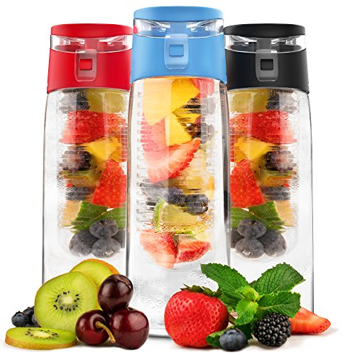 Vremi 24 oz Fruit Infused Water Bottle - BPA Free Sports Water Bottle with Fruit Infuser Filter and Flip Top Lid Cap - Large Tritan Plastic Eco Drinking Cool Clear Travel Reusable Water Bottles - Blue