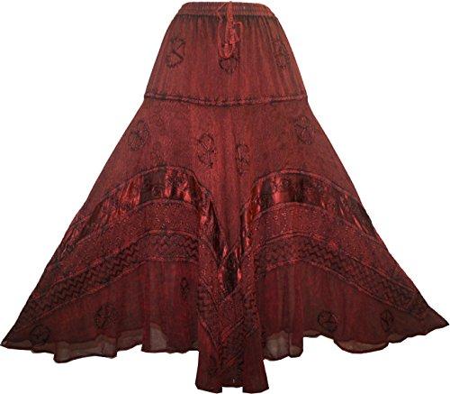 [704 Sk Dancing Gypsy Twirl Long Costume Skirt [Burgundy 2; S/M]] (Ethnic Dance Costume)