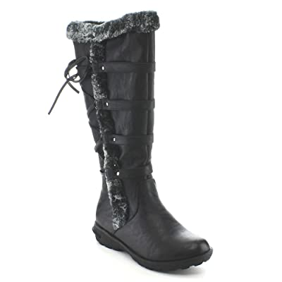 Forever Aura-42 Womens Back Lace Up Knee High Boots Winter Boots | Knee-High