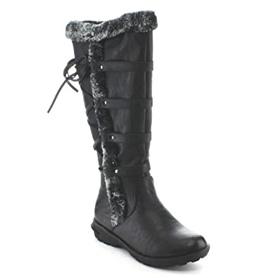 83dbf325309 Forever Aura-42 Womens Back Lace Up Knee High Boots Winter Boots
