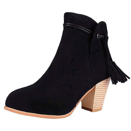 Zapatos Mujer Invierno otoño 2018 Coupon Vouchers Moda Mujer Punta Redonda Botines de Alta Gruesa Cremallera Lateral Botines de Borla: Amazon.es: Zapatos y ...