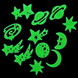 Glow in the Dark Stickers Moon/Planets/Stars Ceiling Wall Bedroom Luminous Green Dark Stickers Durable Decoration for Kids Children Room 12pcs