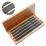 5 Pairs Natural Black Ebony Wood Chopsticks Engraved With Custom Personalized Text - Matte Finish Without Lacquer and Varnish - Classic Square handle Chinese or Japanese Style - Bamboo Case Gift Set