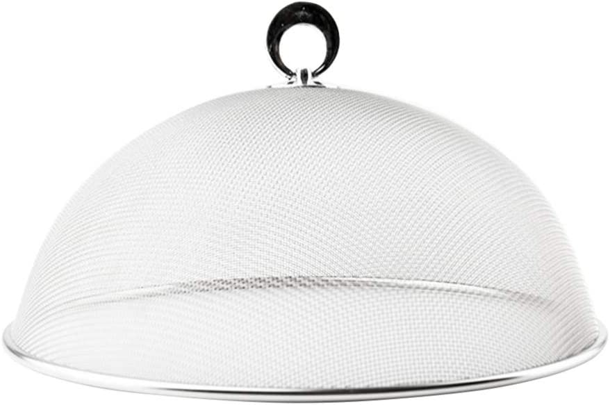 UPKOCH Stainless Steel Mesh Dome Food Cover Round Splatter Screen Anti-flies Foldable Food Tent For Home Kitchen (Silver Diameter 24CM)