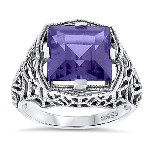 (4 Ct LAB Alexandrite Antique Deco Style .925 Silver Filigree Ring Sz 6 KN-1159)