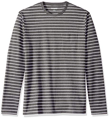 Amazon Essentials Men's Slim-Fit Long-Sleeve Pocket T-Shirt, Charcoal Heather/White Stripe, Small