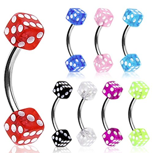 (WildKlass Jewelry 316L Surgical Steel Curved Barbell/Eyebrow Ring with UV Coated Acrylic Dice Balls (Sold Individually))