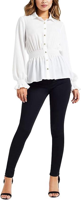 Lipsy Femme Camisa con Cintura Fruncida Blanco EU 42 (UK 14): Amazon.es: Ropa y accesorios