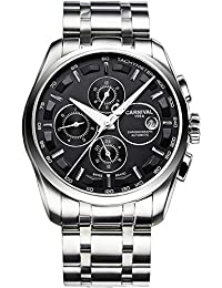 Mens 25 Jewels Automatic Watches with Sapphire Mirror Transparent Back Cover 24 Hours Calendar Black