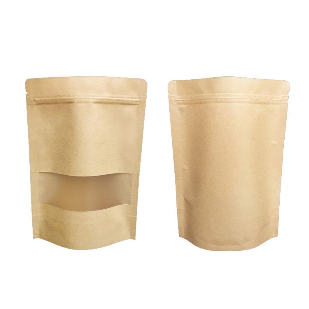 100 PCS Kraft Frosted Window Waterproof Stand Up Pouch with Ziplock, Multiple Sizes (1 OZ, 2 OZ, 4 OZ, 6 OZ, 8 OZ, 16 OZ, 1.5 LB, 2 LB, 2.5 LB), 15 mil-4oz-1000