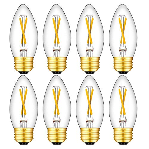 CRLight 2W 3000K LED Medium Base(E26) Chandelier Bulb Soft White 250LM Dimmable, 25W Equivalent E26 Medium Base LED Candle Bulbs, C35 Clear Glass Torpedo Shape Bullet Top, 8 Pack