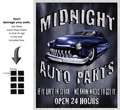 Shop72 - Legends - Midnight Auto Parts Tin Sign Retro Vintage Distrssed - with Sticky Stripes No Damage to Walls