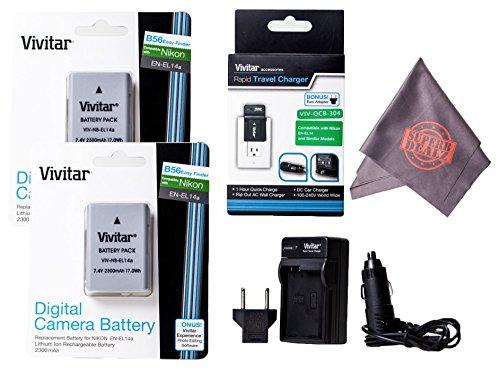 2 Pack of Vivitar EN-EL14/EN-EL14a Ultra High Capacity 2300mAh Li-ion + AC/DC Vivitar Rapid Travel Charger + Microfiber Lens Cleaning Cloth EL14 ENEL14 (Nikon EN-EL14 Replacement) by Vivitar