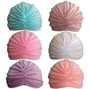 Rsky Baby Girls Soft Cotton Turban Warm Ear Kids Hat For Toldder Infant Children Pack Of 6