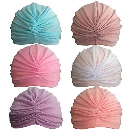 Rsky Baby Girls Soft Cotton Turban Warm Ear Kids Hat For Toldder Infant children Pack Of 6 (Turban For Kids)