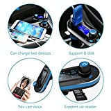 i-SUPERSIM-Wireless-Multifunctional-In-Car-Bluetooth-Handsfree-Calling-Car-Kit-with-Dual-USB-Car-Charger-and-FM-Transmitter-for-iPhone-Android-Smartphone-Tablets-and-MP3-Players