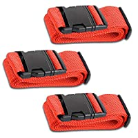 HeroFiber Red Luggage Belts Suitcase Straps Adjustable and Durable, Name Card, Travel Case Accessories, 3 Pack
