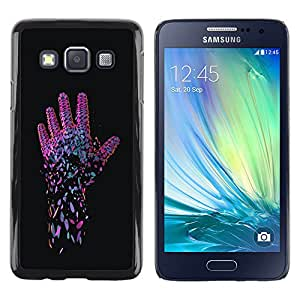 Neon Pink Hand - Metal de aluminio y de plástico duro Caja del teléfono - Negro - Samsung Galaxy A3 / SM-A300