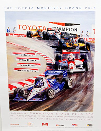 1991 - Scramp / Wecker Group - Artist Jim Swinton - The Toyota Monterey Grand Prix - Champion Spark Plug 300 - Marlboro Challenge / Toyota Atlantic Championship - Firestone Indy Lights - Oct 17-20 1991 - Laguna Seca Raceway - Monterey CA - Race Day Poster - Out of Print - Very Rare - Collectible