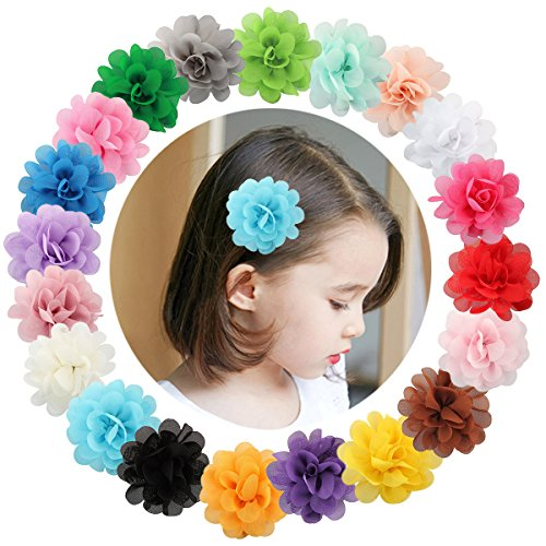 VGLOOK 20 Pcs Multicolor Chiffon Flowers Petal Hair Clip Bow Clip Barrettes Accessories Alligator Clip for Kids Baby Girls